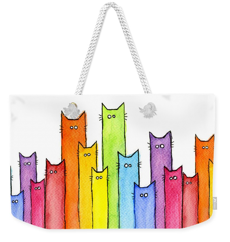 Cats Weekender Tote Bag featuring the painting Cat Rainbow Watercolor Pattern by Olga Shvartsur