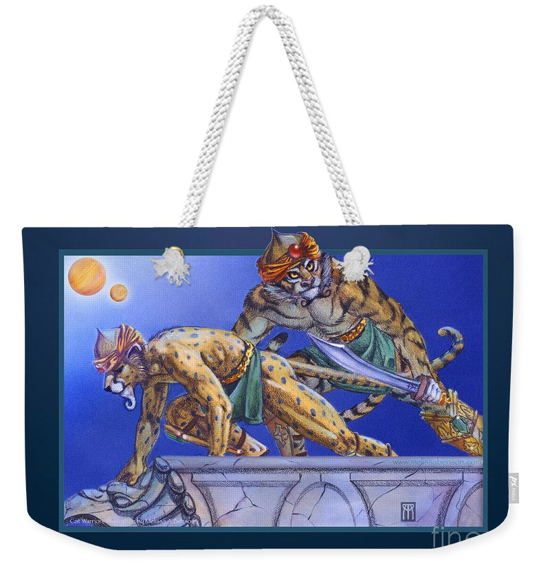 Furry Weekender Tote Bag featuring the digital art Cat Warriors by Melissa A Benson