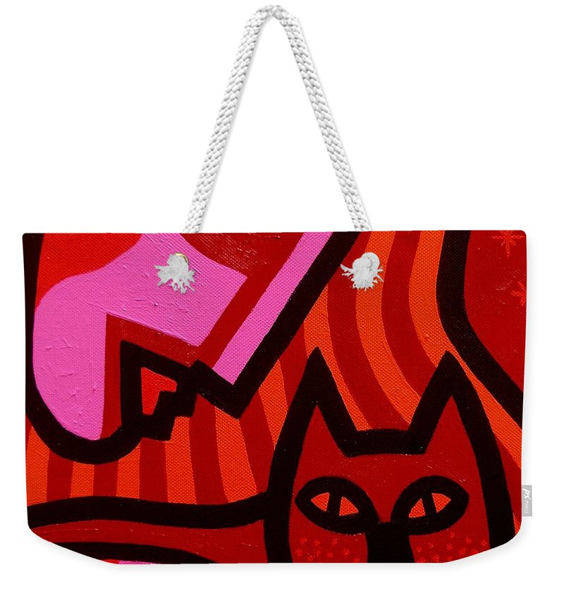 Acrylic Weekender Tote Bag featuring the painting Cat Woman by John Nolan