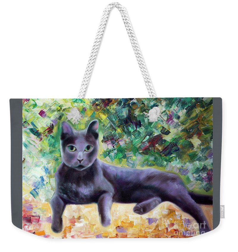 Cat Weekender Tote Bag featuring the painting Cat by Yana Sadykova