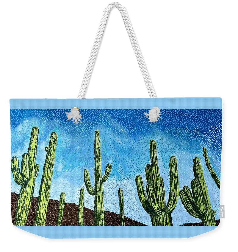 Lee Asbell Weekender Tote Bag featuring the painting Catalina State Park by Lee Asbell