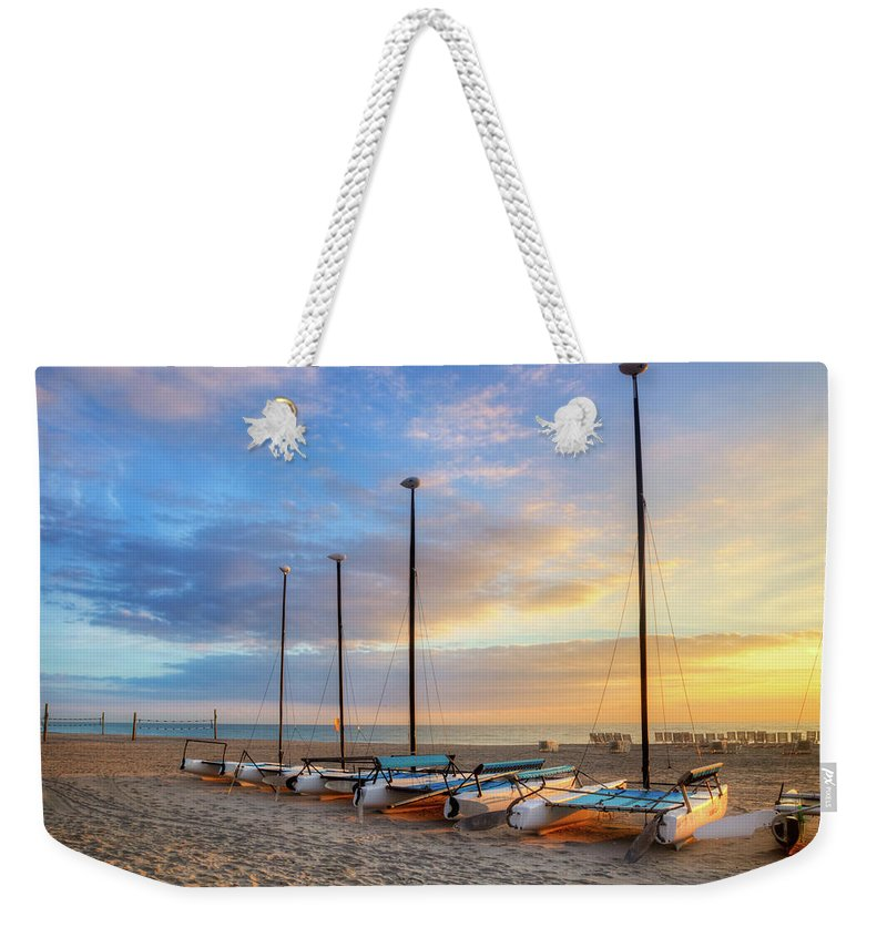 Boats Weekender Tote Bag featuring the photograph Catamarans In The Sun by Debra and Dave Vanderlaan
