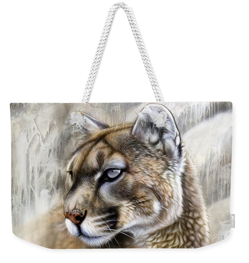 Acrylic Weekender Tote Bag featuring the painting Catamount by Sandi Baker