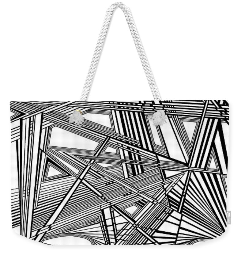 Dynamic Black And White Weekender Tote Bag featuring the painting Catastrophic Wafting by Douglas Christian Larsen
