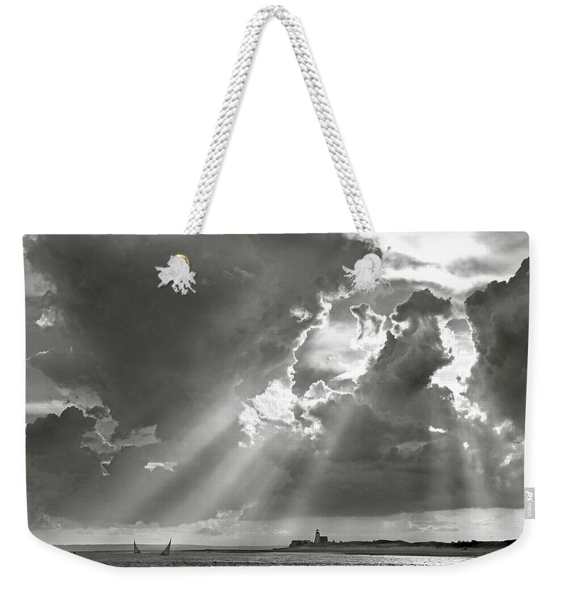 Catboats Weekender Tote Bag featuring the photograph Catboats Sailing In Barnstable Harbor by Charles Harden