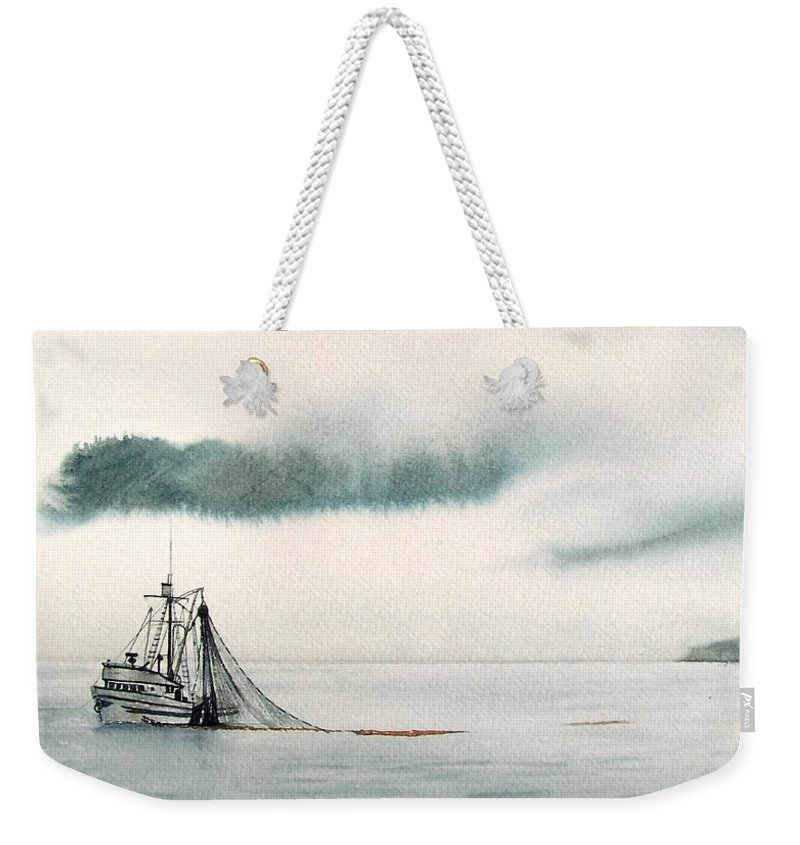 Fishing Boat Weekender Tote Bag featuring the painting Catch Of The Day by Gale Cochran-Smith