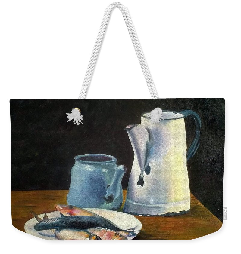 Weekender Tote Bag featuring the painting Catch Of The Day by Maria Gina