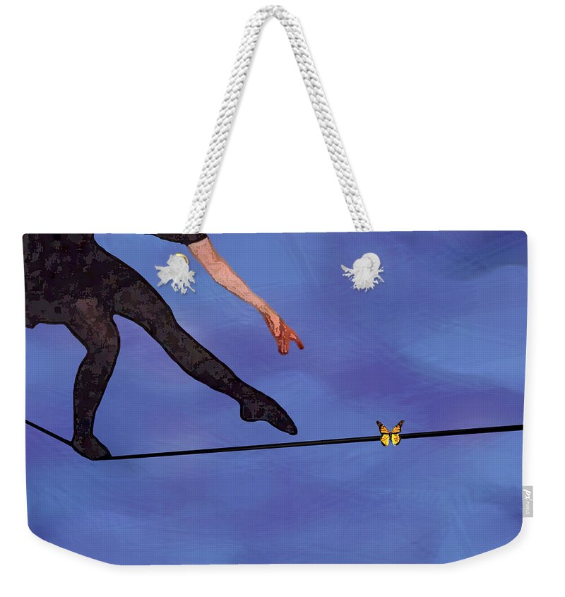 Surreal Weekender Tote Bag featuring the painting Catching Butterflies by Steve Karol