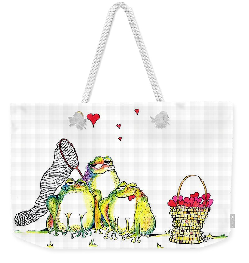 Valentine Card Weekender Tote Bag featuring the painting Catching Hearts by Pat Saunders-White