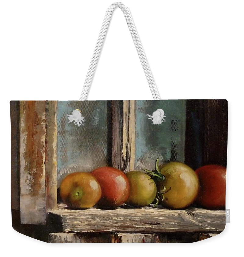 Judy Bradley Weekender Tote Bag featuring the painting Catching Summer Rays by Judy Bradley