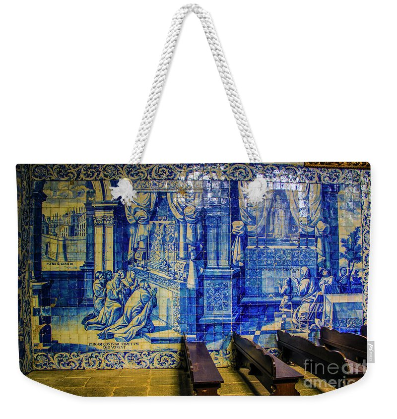 Braga Weekender Tote Bag featuring the photograph Cathedral Azulejos by Roberta Bragan