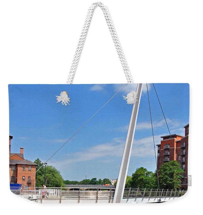 Flats Weekender Tote Bag featuring the photograph Cathedral Green Bridge At Derby by Rod Johnson