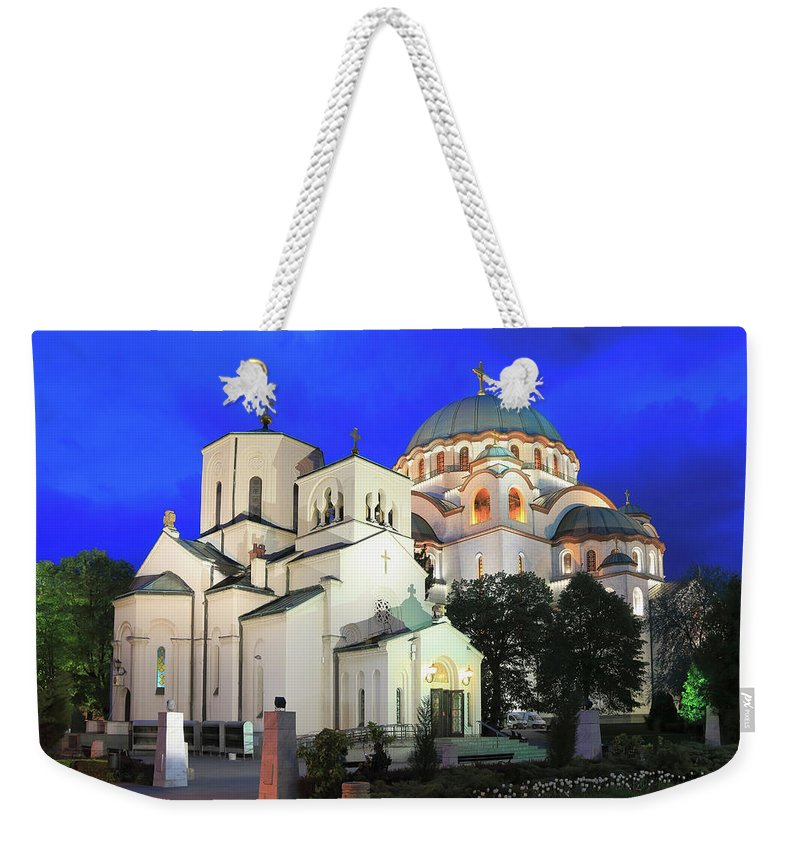 Architecture Weekender Tote Bag featuring the photograph Cathedral Of Saint Sava At Dusk Belgrade Serbia by Ivan Pendjakov