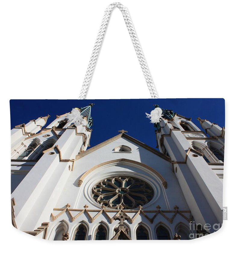 Cathedral Of St John The Babtist Weekender Tote Bag featuring the photograph Cathedral Of St John The Babtist In Savannah by Carol Groenen
