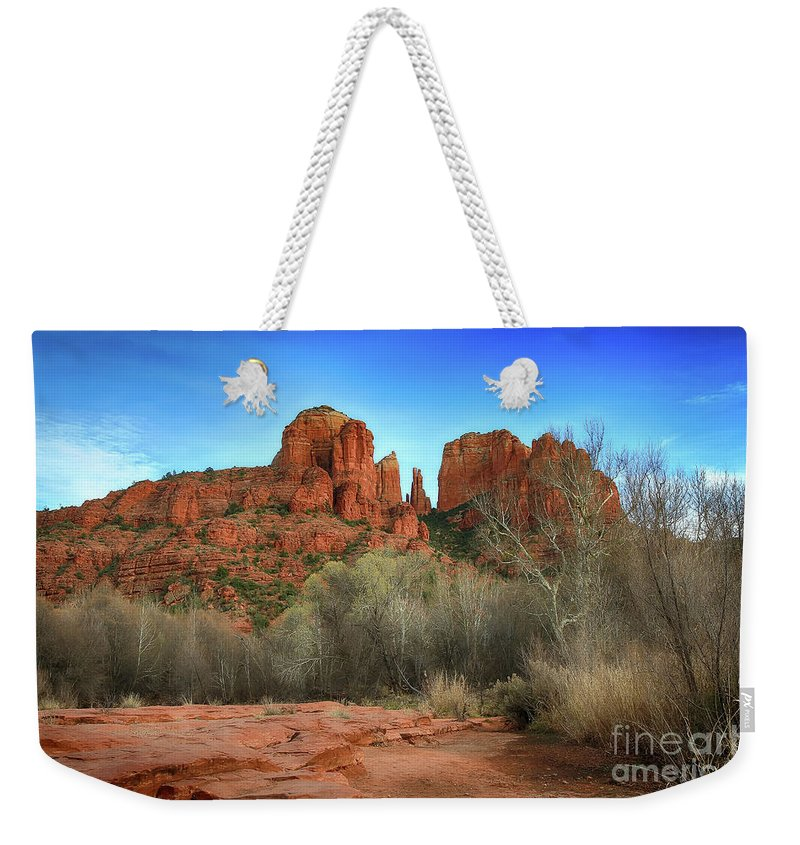 Cathedral Rock Sedona Arizona Red Rock Crossing Chavez Ranch Cresent Moon Ranch Wheel Fence Red Rocks Cloud Clouds Landscape Landscapes Rustic Barn Southwest Weekender Tote Bag featuring the photograph Cathedral Rock In Sedona by Teresa Zieba