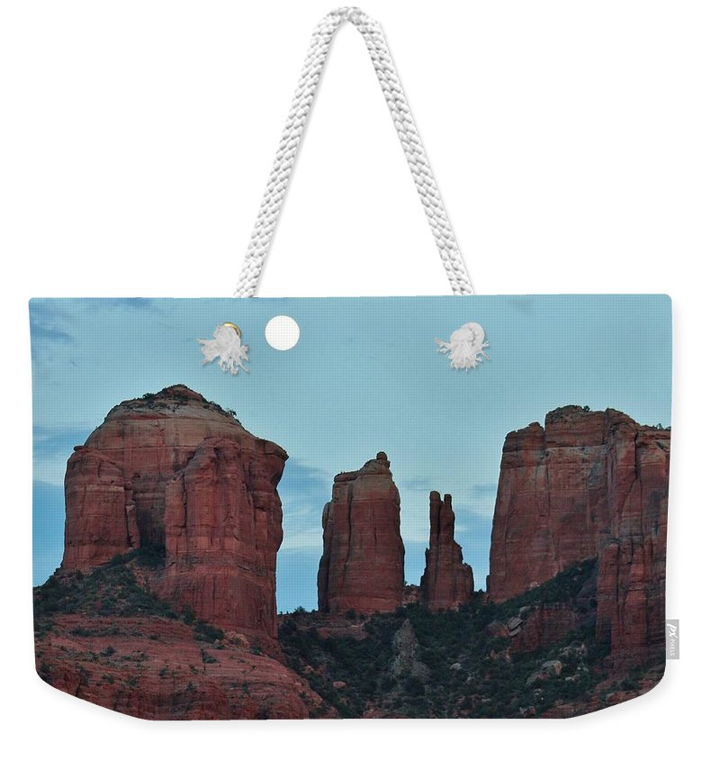 Cathedral Rock Weekender Tote Bag featuring the photograph Cathedral Rock Moon 081913 E2 by Edward Dobosh