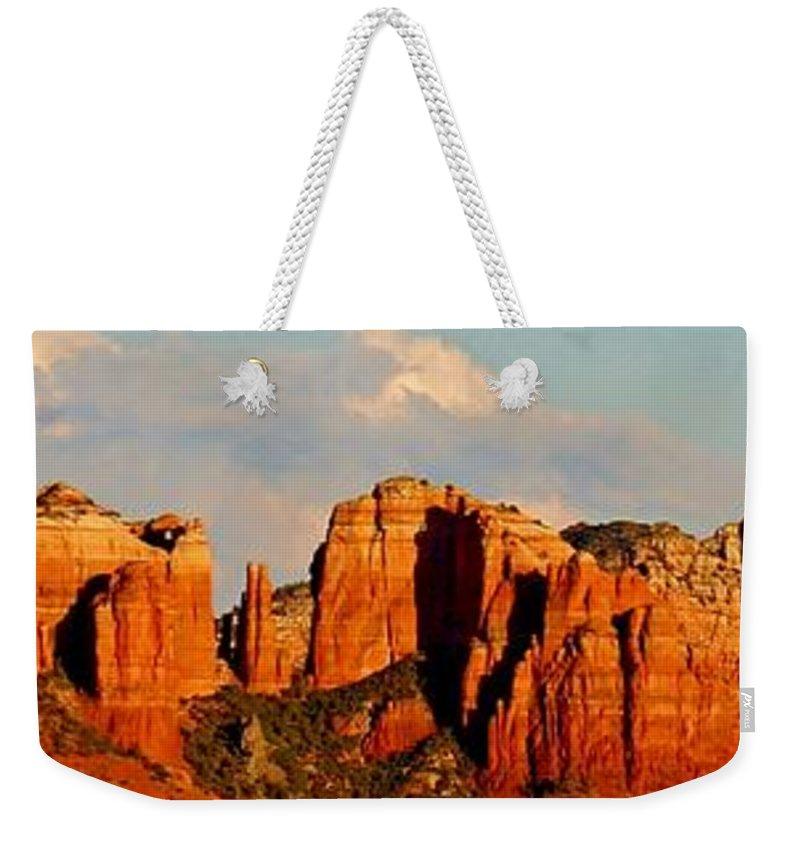 Cathedral Rock Weekender Tote Bag featuring the photograph Cathedral Rock Panorama by Edward Dobosh