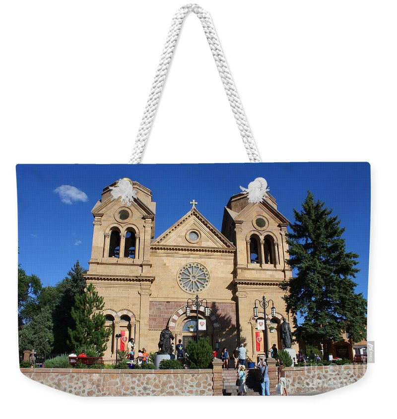 Cathedral Weekender Tote Bag featuring the photograph Cathedral Sante Fe Nm by Tommy Anderson