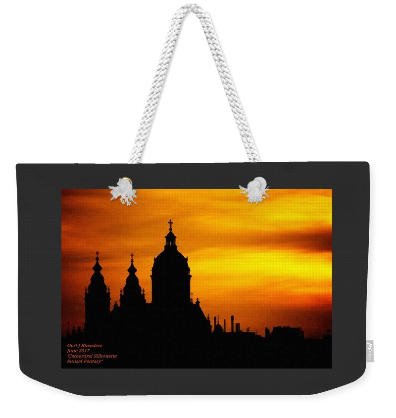 Cathedral.sunset Weekender Tote Bag featuring the digital art Cathedral Silhouette Sunset Fantasy L A by Gert J Rheeders