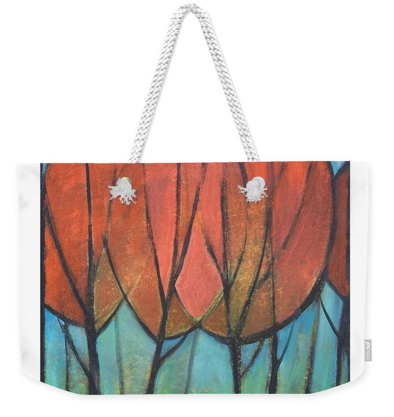 Trees Weekender Tote Bag featuring the painting Cathedral by Tim Nyberg