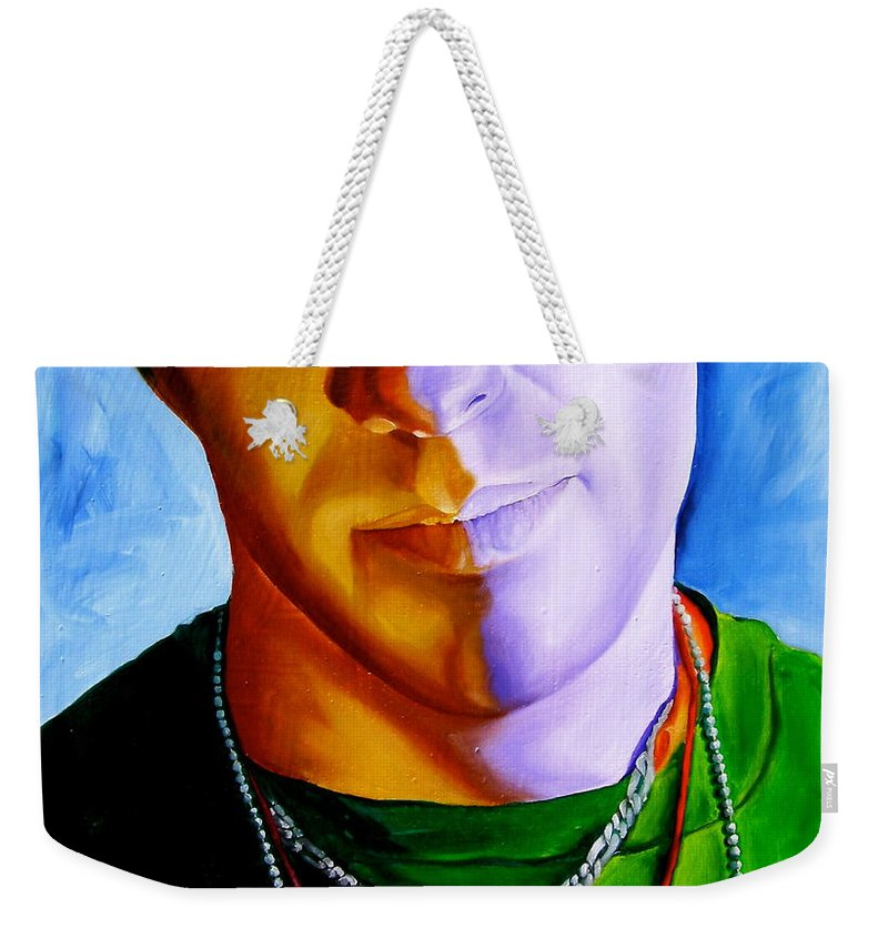 Portraiture Weekender Tote Bag featuring the painting Catholic by Laura Pierre-Louis