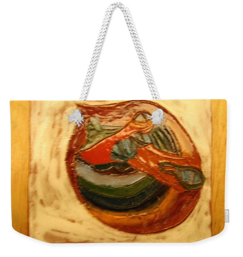 Jesus Weekender Tote Bag featuring the ceramic art Cathy - Tile by Gloria Ssali