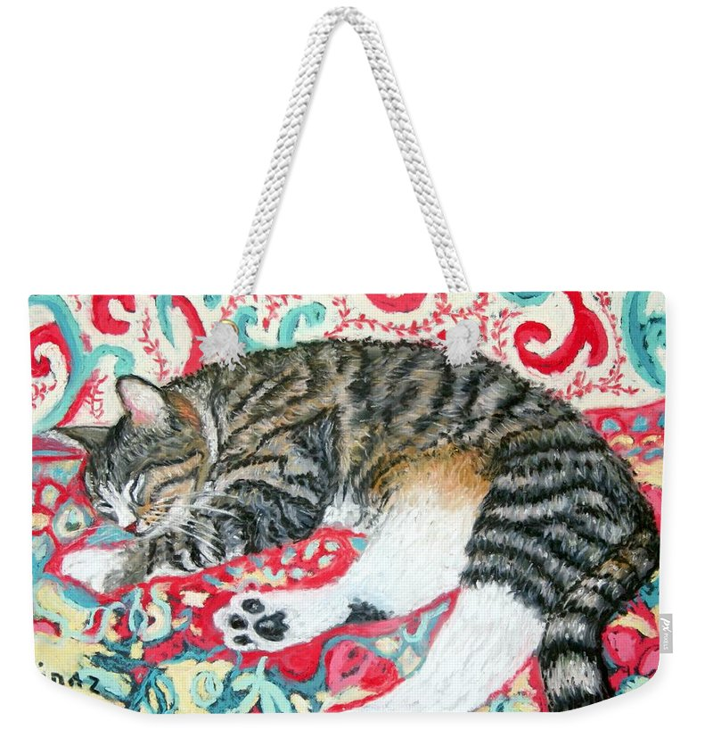 Cat Weekender Tote Bag featuring the painting Catnap Time by Minaz Jantz