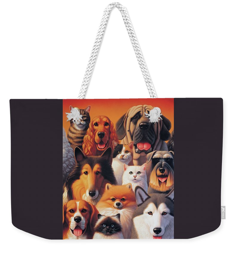 Cats And Dogs Weekender Tote Bag featuring the painting Cats And Dogs by Leland Klanderman