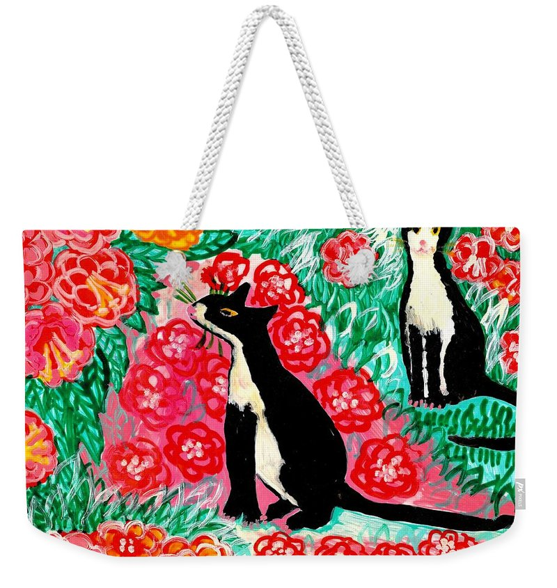 Sue Burgess Weekender Tote Bag featuring the painting Cats And Roses by Sushila Burgess