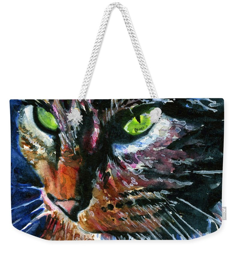 Cats Weekender Tote Bag featuring the painting Cats Eyes 11 by John D Benson
