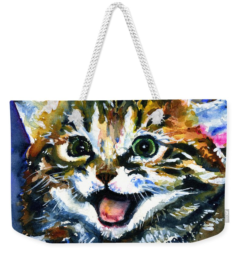 Eyes Weekender Tote Bag featuring the painting Cats Eyes 15 by John D Benson