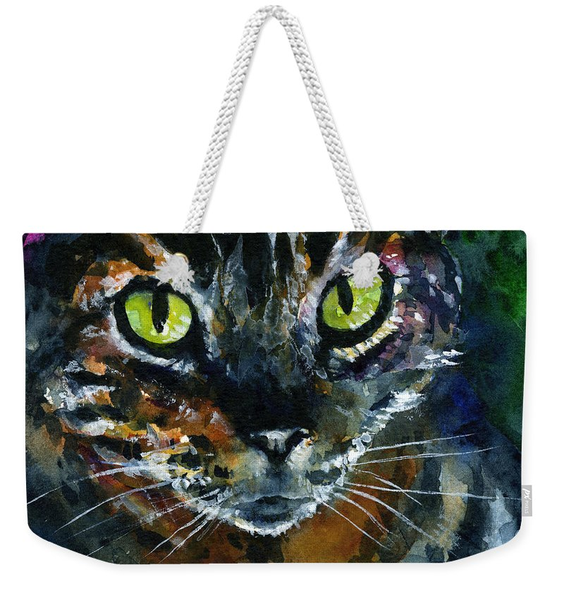 Eyes Weekender Tote Bag featuring the painting Cats Eyes 16 by John D Benson