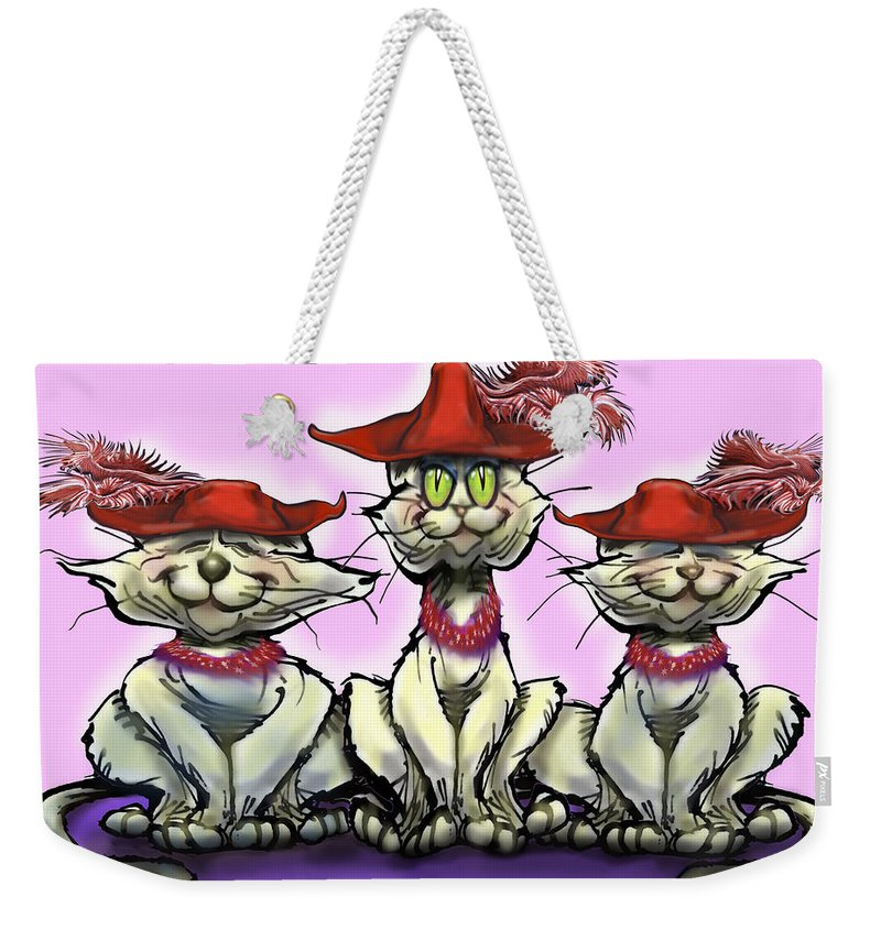 Red Hats Weekender Tote Bag featuring the digital art Cats In Red Hats by Kevin Middleton
