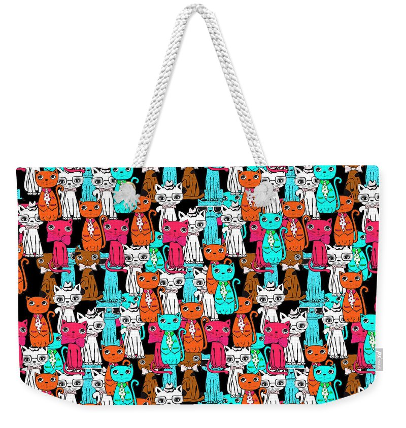 Pattern Weekender Tote Bag featuring the digital art Cats by Mark Ashkenazi