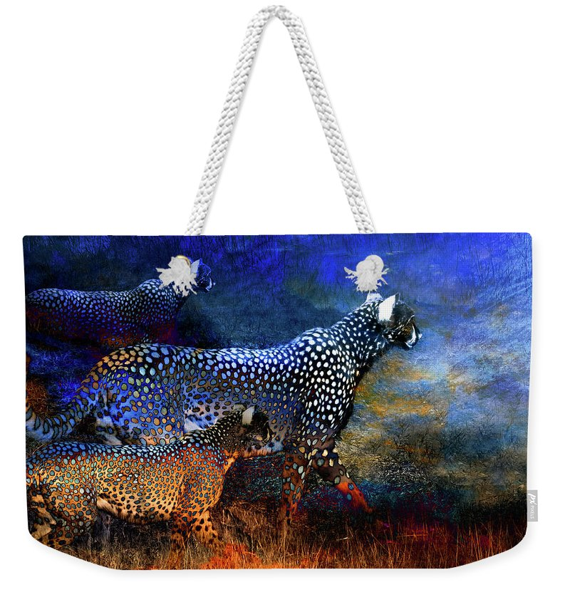 Cats Weekender Tote Bag featuring the digital art Cats On The Prowl by William Bader