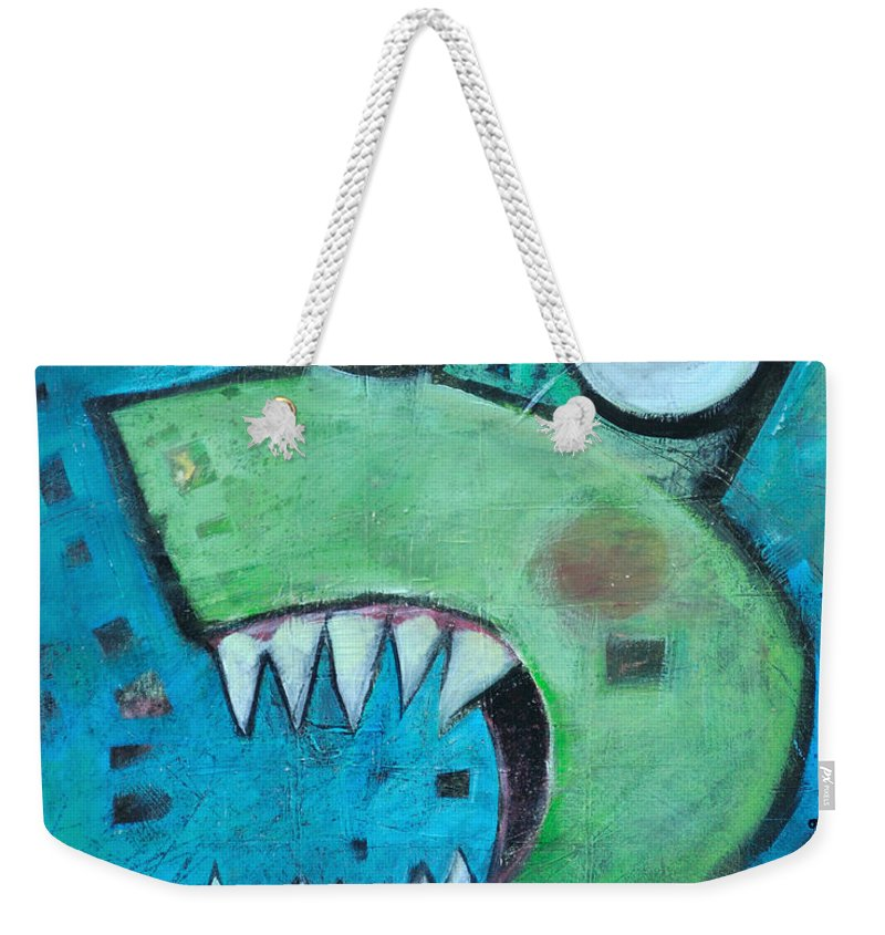 Cat Weekender Tote Bag featuring the painting Catsastrophe by Tim Nyberg