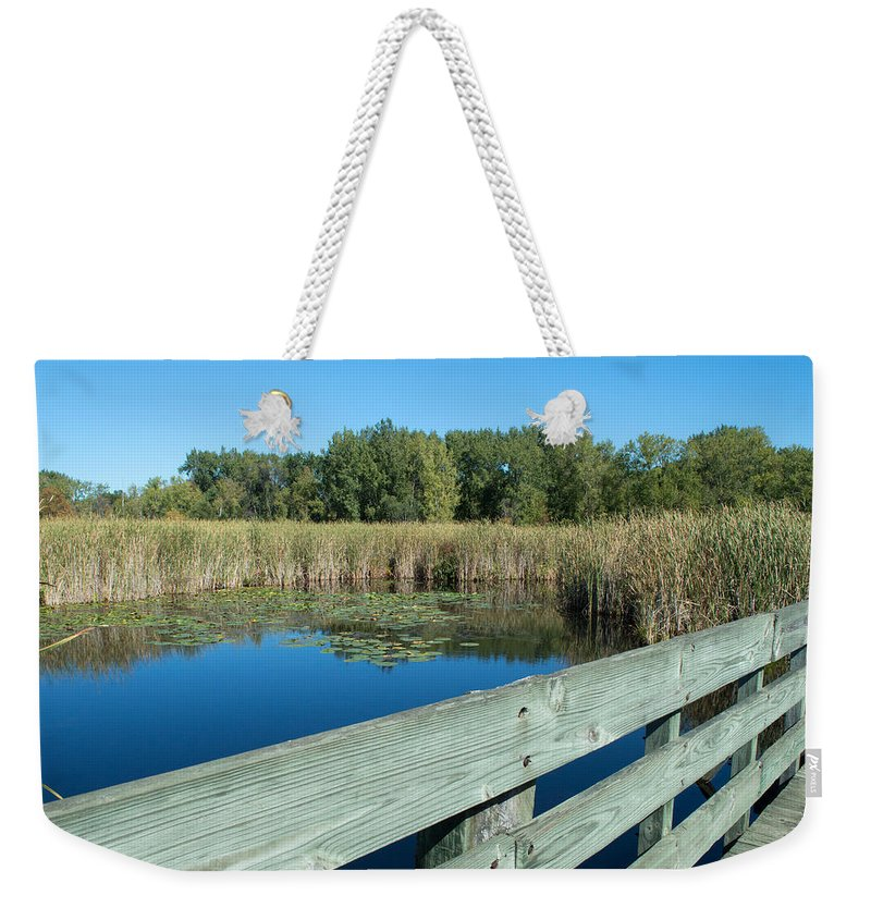 Bay City Recreation Area Weekender Tote Bag featuring the photograph Cattails by Linda Kerkau