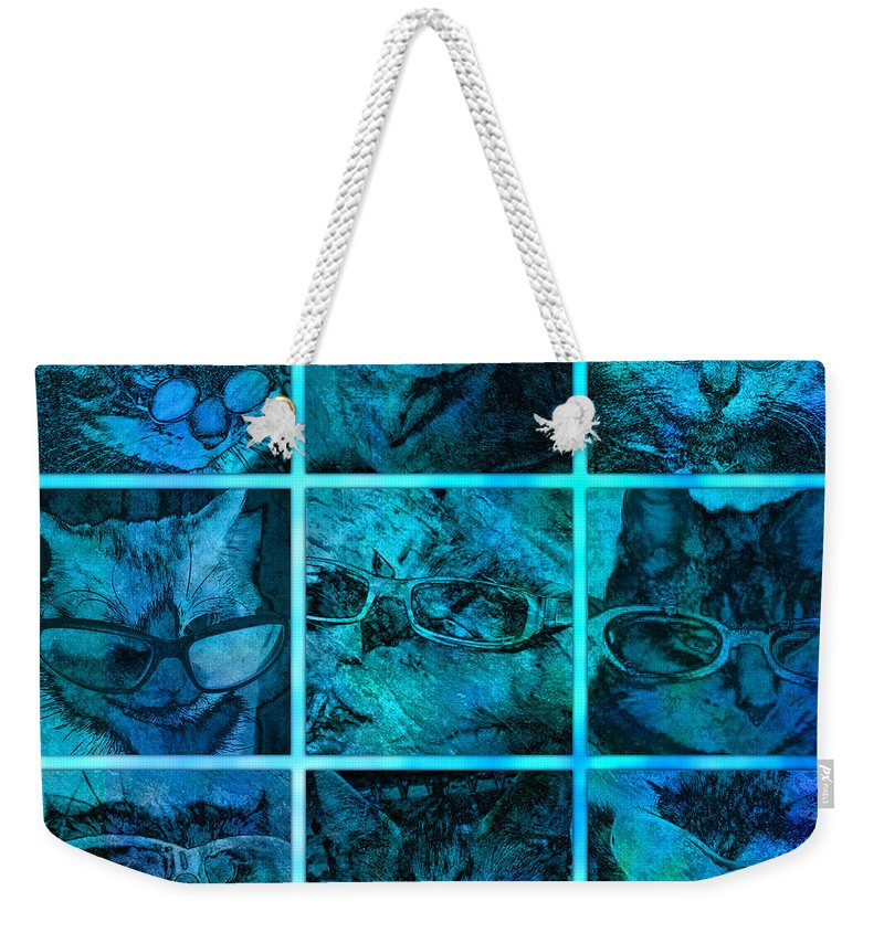 Cat Weekender Tote Bag featuring the digital art Cattitudes by Barbara Berney