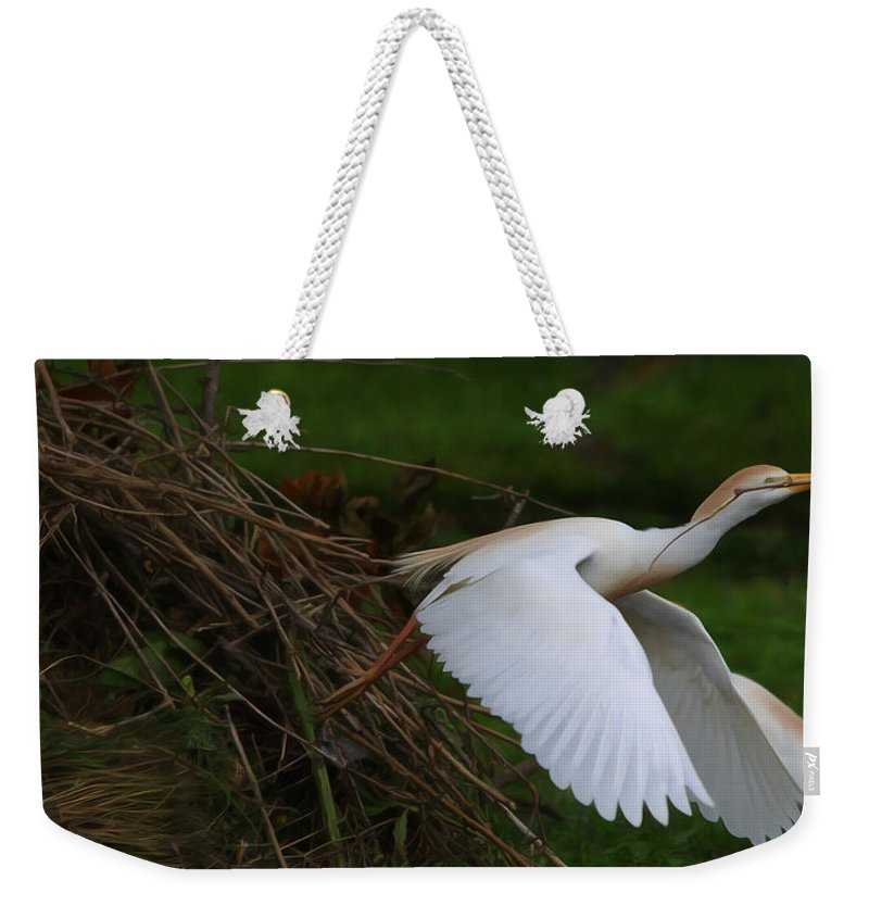 Roy Williams Weekender Tote Bag featuring the photograph Cattle Egret Begins Flight With Nest Materials - Digitalart by Roy Williams