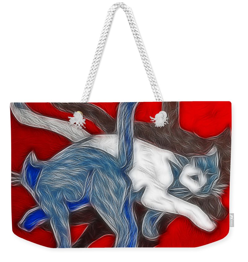 Cats Weekender Tote Bag featuring the painting Catwalk by Joachim G Pinkawa
