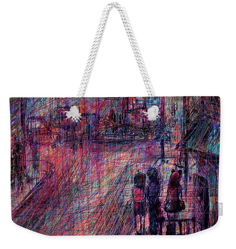 Abstract Weekender Tote Bag featuring the digital art Catwoman by Rachel Christine Nowicki