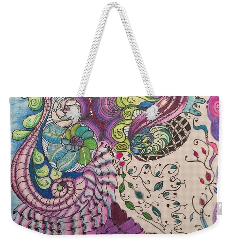 Patterns Weekender Tote Bag featuring the drawing Caught in a Net by Suzanne Udell Levinger