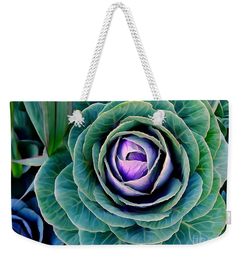 Digital Weekender Tote Bag featuring the photograph Cauliflower Abstract #6 by Ed Weidman