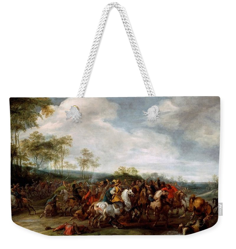 Painting Weekender Tote Bag featuring the painting Cavalry Skirmish by Mountain Dreams