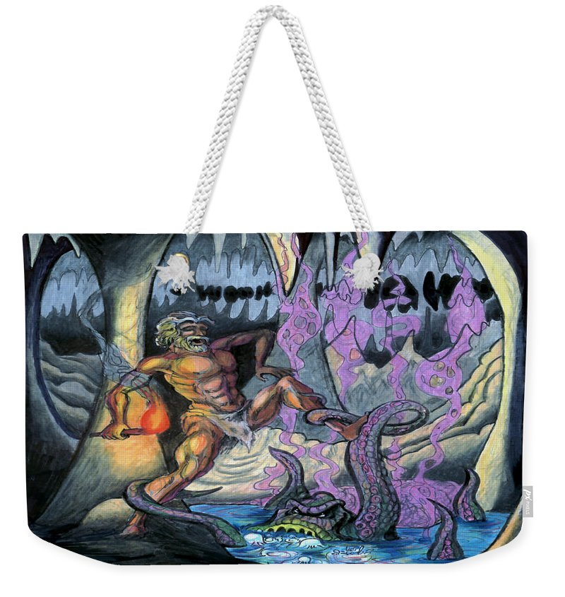 Cave Weekender Tote Bag featuring the painting Cave Creature by Kevin Middleton