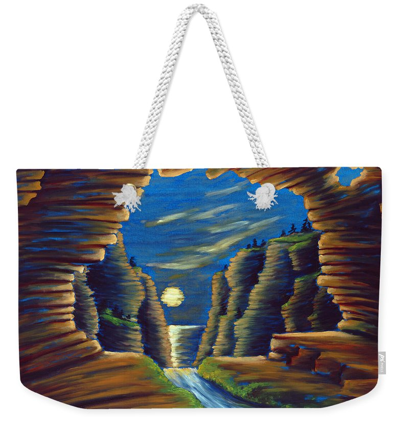 Cave Weekender Tote Bag featuring the painting Cave with Cliffs by Jennifer McDuffie