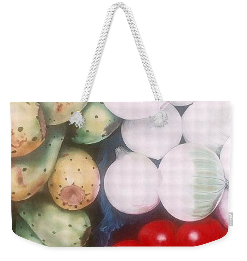 Hyperrealism Weekender Tote Bag featuring the painting Cebollas Tunas Y Tomates by Michael Earney