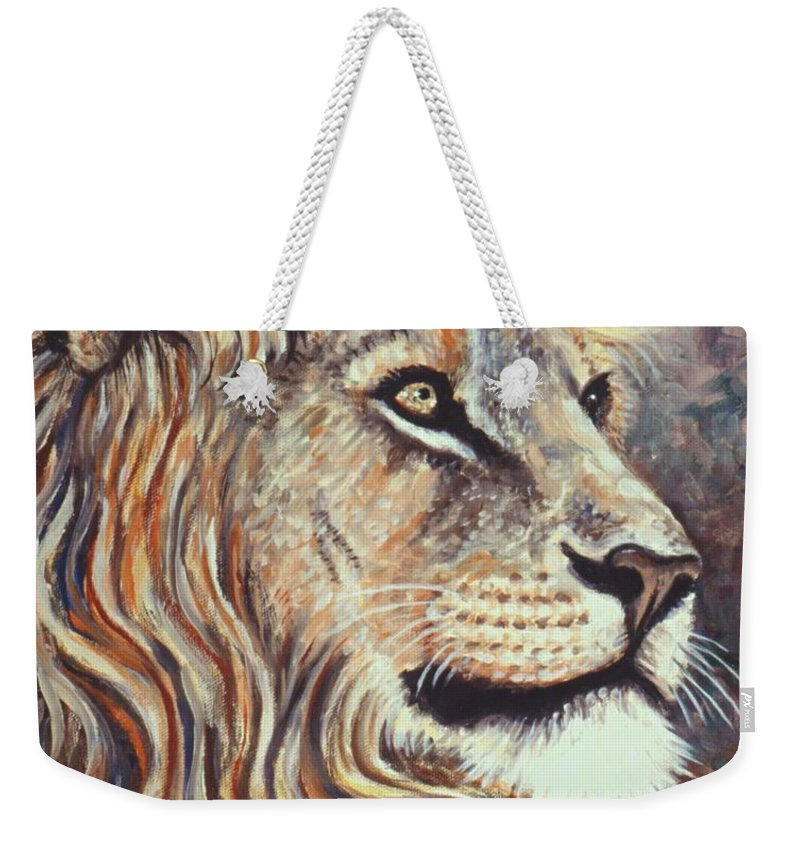 Cecil Weekender Tote Bag featuring the painting Cecil The Lion by Linda Mears