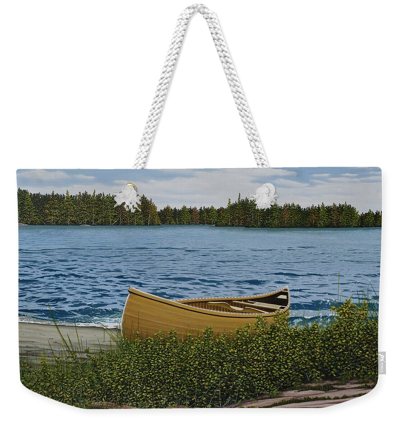 Landscapes Weekender Tote Bag featuring the painting Cedar Canoe by Kenneth M Kirsch