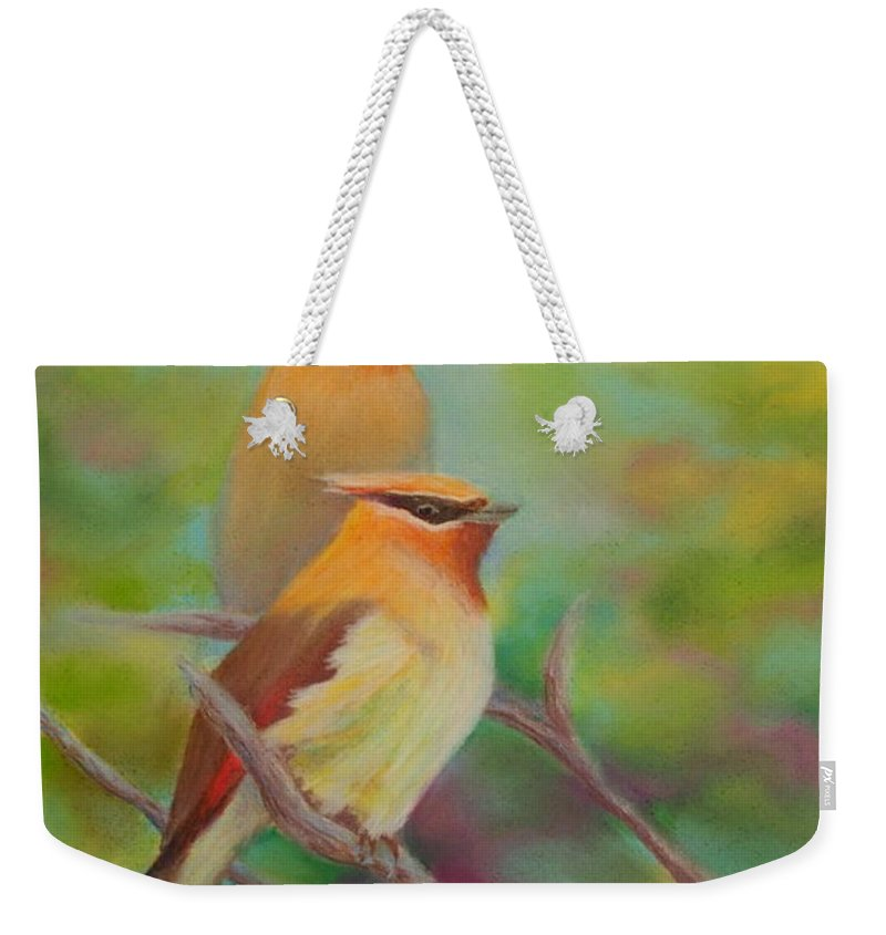 Birds Weekender Tote Bag featuring the painting Cedar Waxwing Buddies by Brent Ciccone